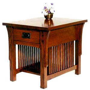 AA Laun Arts and Crafts  End Table with Drawer and Shelf