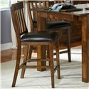 AAmerica Mariposa Slatback Stools with Faux Leather Seat