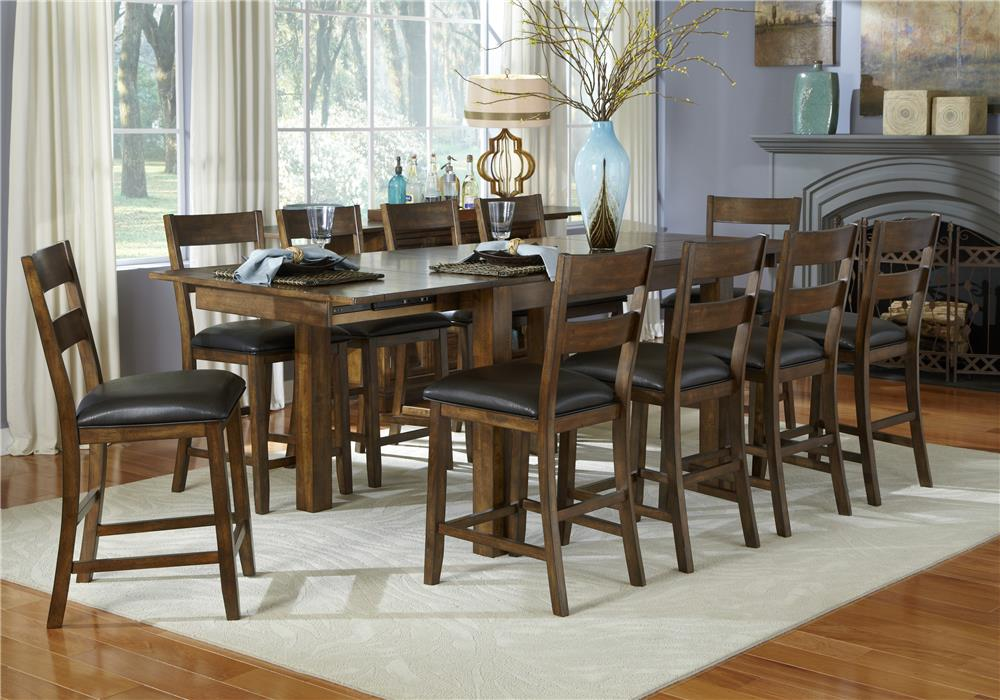 AAmerica Mariposa 11 Piece Gathering Table and Chairs Set - Item Number: MRP-RW-6-70-0+10x3-55-K