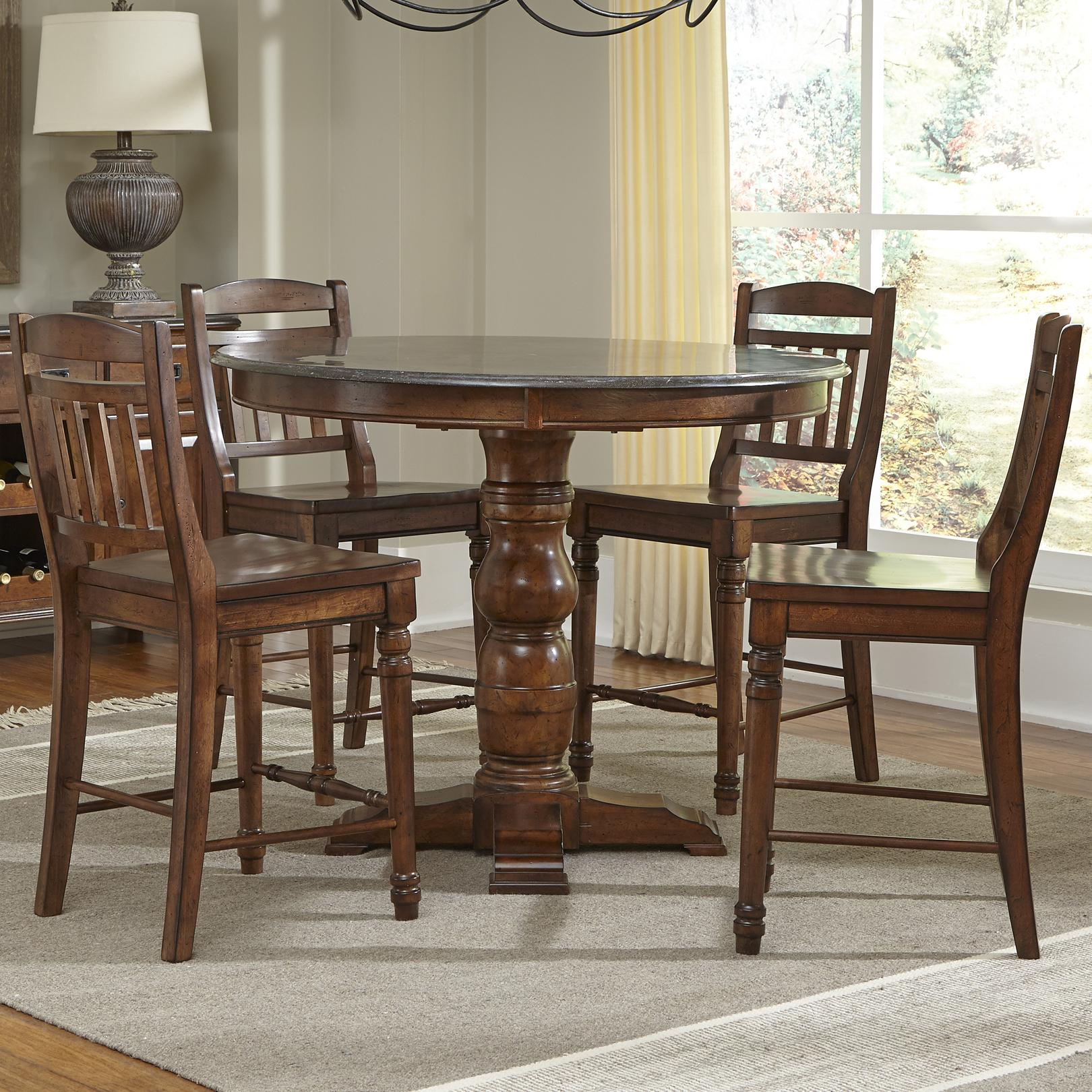 AAmerica Andover Park 5 Piece Counter Height Set - Item Number: ADV-AC-6-20-0+4x3-65-K