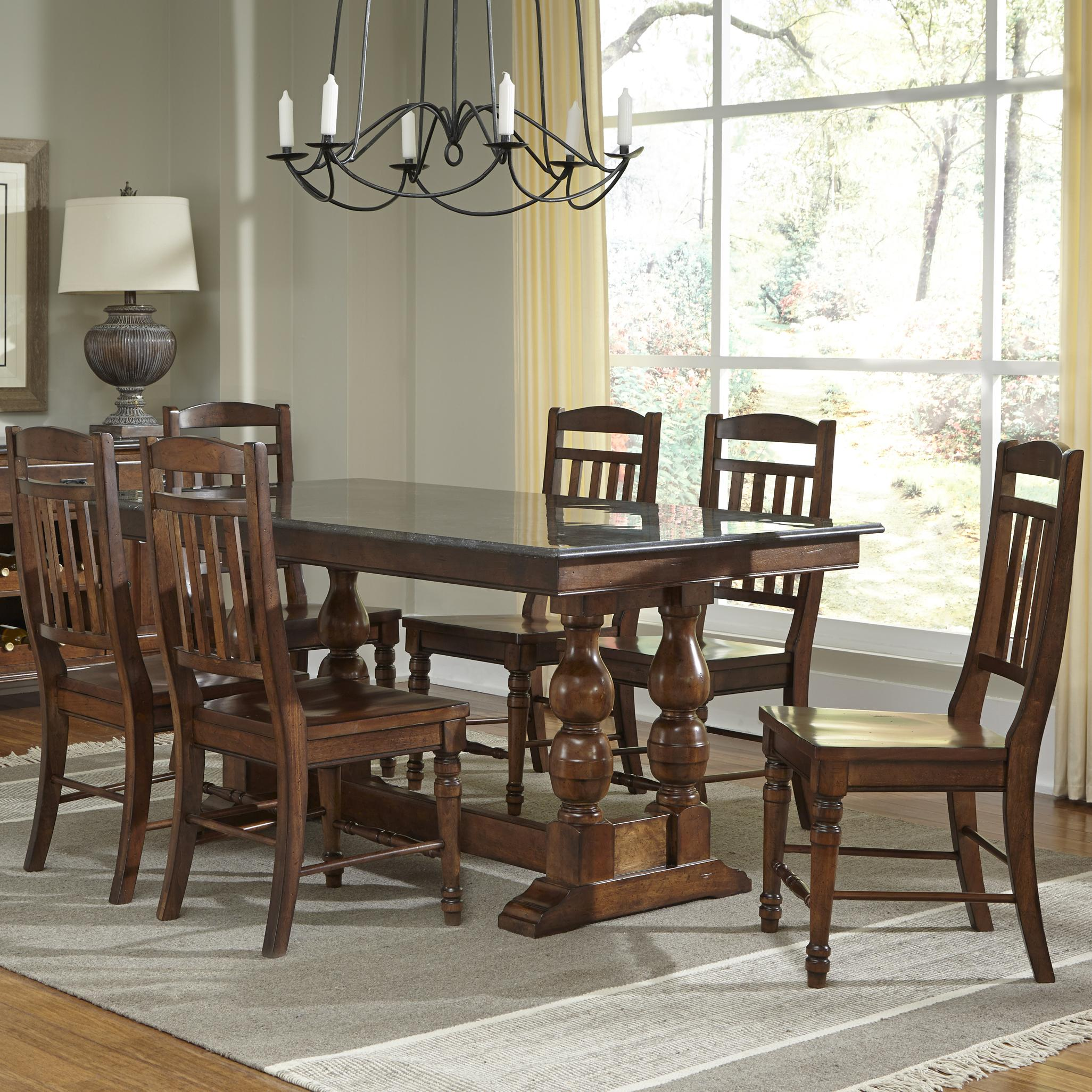 AAmerica Andover Park 7 Piece Dining Set - Item Number: ADV-AC-6-30-0+6x2-65-K