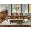 AAmerica Bennett 7 Piece Trestle Dining Set - Item Number: BEN-SQ-6-30-0+5x2-36-K+295-K