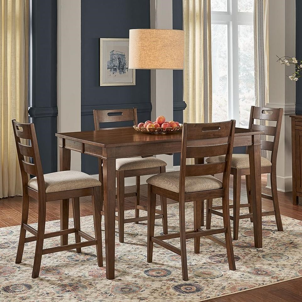 Blue Mountain 5-Piece Counter Height Table and Stool Set by AAmerica at Zak's Home