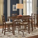 AAmerica Blue Mountain 5-Piece Counter Height Table and Stool Set - Item Number: BLU-NB-6-75-0+4x3-55-K