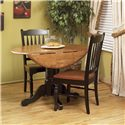 AAmerica British Isles Round Dropleaf Table with Pedestal Base - Drop Leaf Table with School House Chairs
