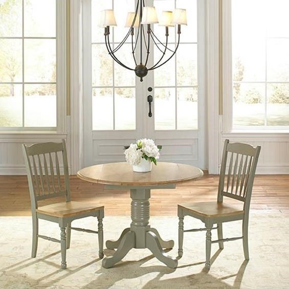 AAmerica British Isles Dropleaf Table and Chairs - Item Number: BRI-NS-6-10-0+2xBRI-NS-2-67-K