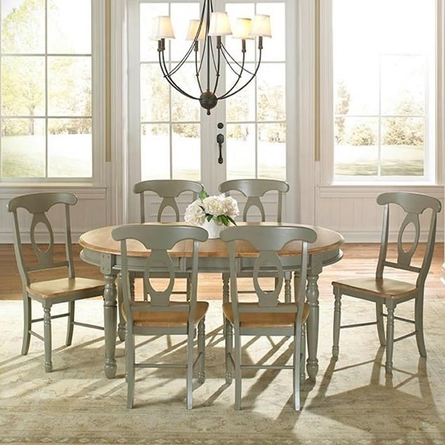 AAmerica British Isles Oval Leg Table with Chairs - Item Number: BRI-NS-6-31-0+6xBRI-NS-2-85-K