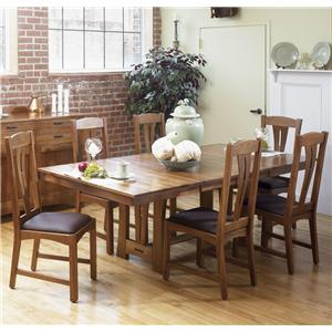AAmerica Cattail Bungalow 7-Piece Trestle Table Dining Set