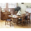 AAmerica Cattail Bungalow 7-Piece Trestle Table Dining Set w/ 6 Side Chairs - Shown with sideboard