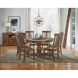 AAmerica Dawson Round Pedestal Table Dining Room Group