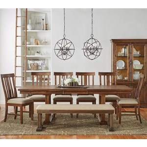 AAmerica Dawson 8 Piece Trestle Table and Chair Set