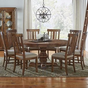 AAmerica Dawson 9 Piece Round Pedestal Table and Chair Set