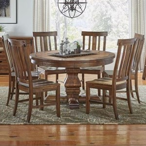 AAmerica Dawson 7 Piece Round Pedestal Table and Chair Set