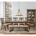 AAmerica Dawson 8 Piece Trestle Table and Chair Set - Item Number: DAW-WT-6-30-0+2-95-K+6x2-45-K