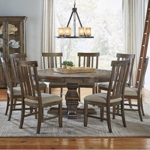 AAmerica Dawson 9 Piece Round Pedestal Table and Chair Set