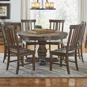 AAmerica Dawson 7 Piece Round Pedestal Table and Chair Set