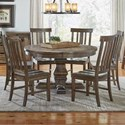 AAmerica Dawson 7 Piece Round Pedestal Table and Chair Set - Item Number: DAW-WT-6-51-0+6x2-75-K