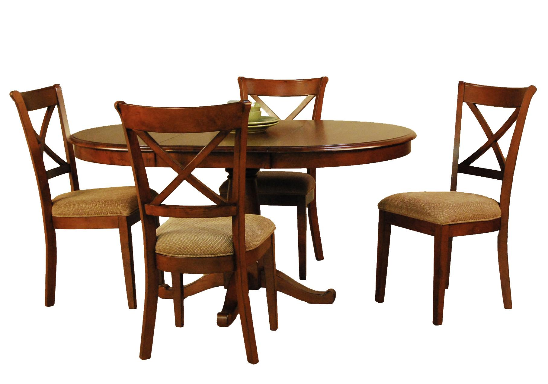 Aamerica de soto five piece pedestal table and x back for 6 x dining room chairs