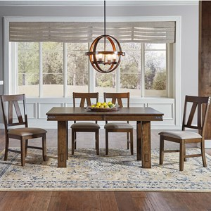 AAmerica Eastwood Dining Trestle Table And 4 Side Chairs