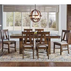 AAmerica Eastwood Dining Trestle Table And 6 Side Chairs
