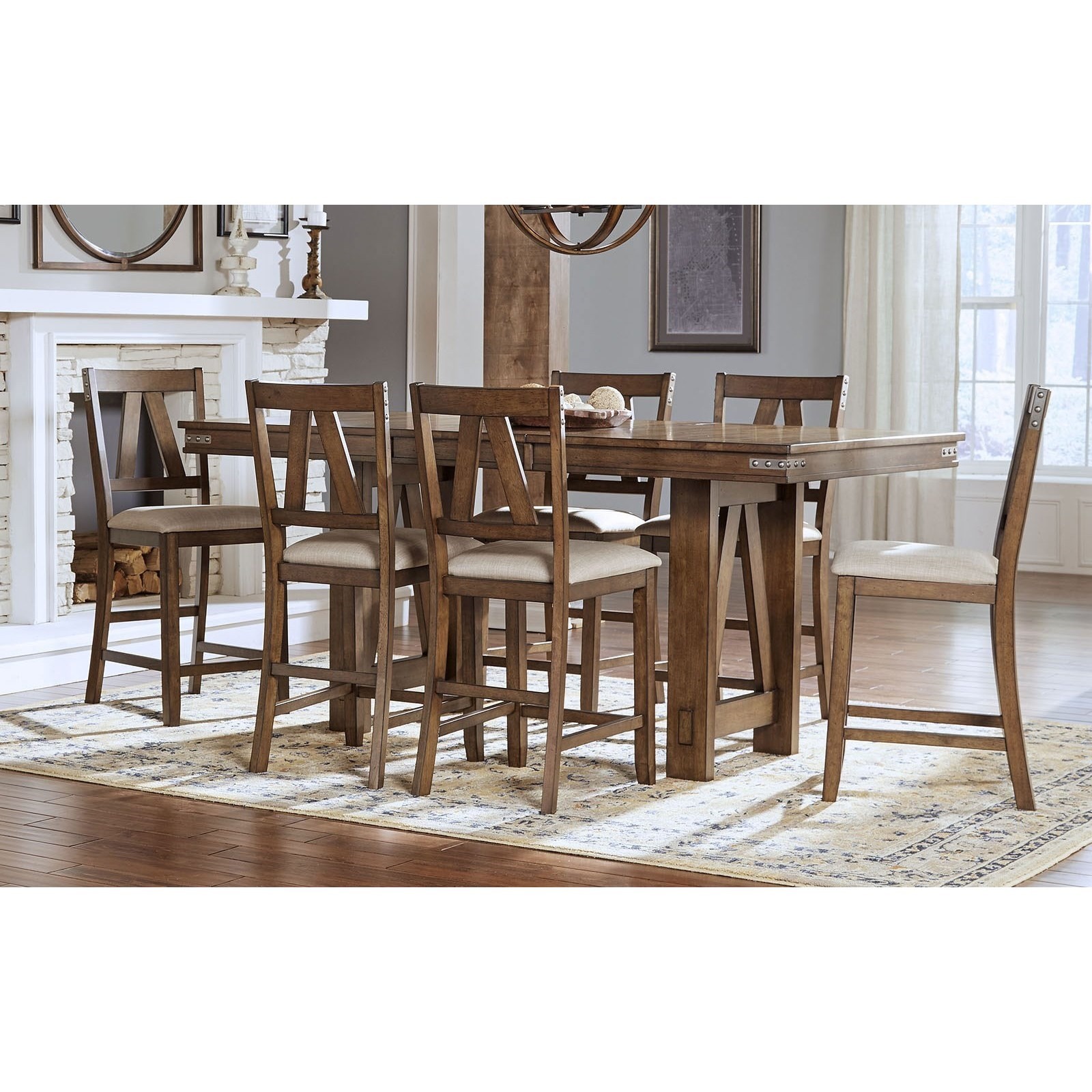 Aamerica Eastwood Dining Solid Wood Counter Height Table With Butterfly Leaf And 6 Upholstered Side Chairs Wayside Furniture Pub Table And Stool Sets