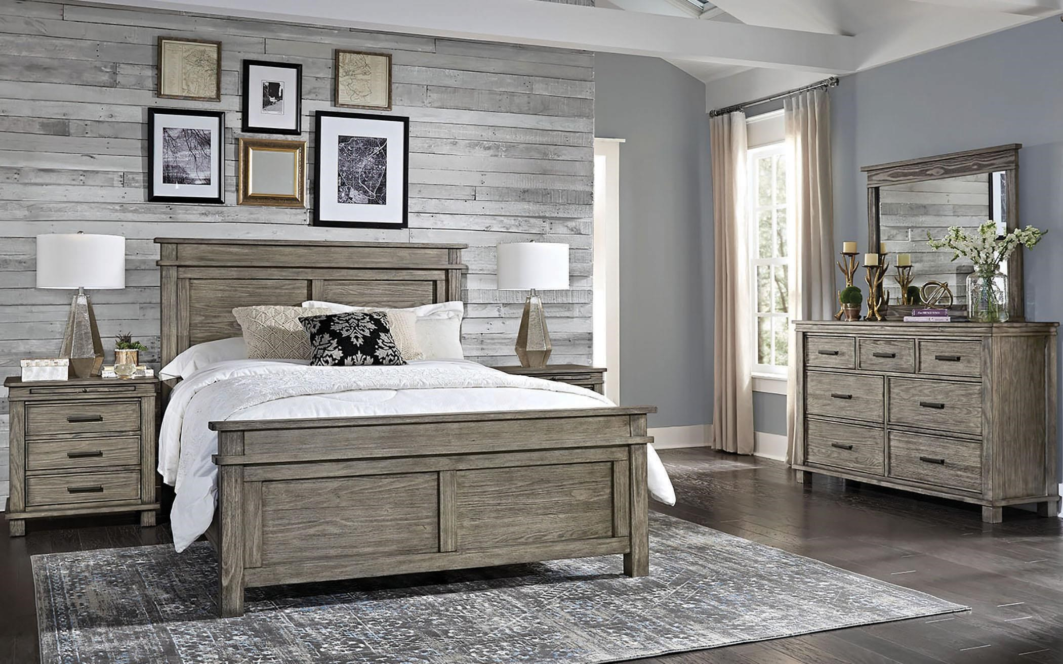 Glacier Point Queen Bed Set, Night Stand, Dresser, Mirror by AAmerica at Johnny Janosik