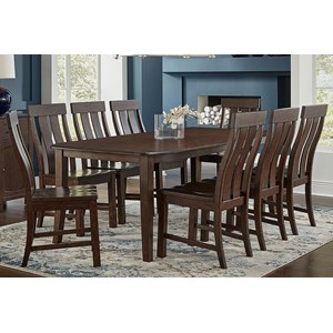 9-Piece Wood Leg Table and Chair Set