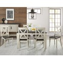 AAmerica Huron 7 Piece Transitional Table and X Back Chair Set - Server Not Included.