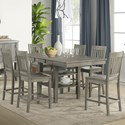 AAmerica Huron Transitional Pub Table and Chair Set - Item Number: HUR-DG-6-70-0+6x3-65-K