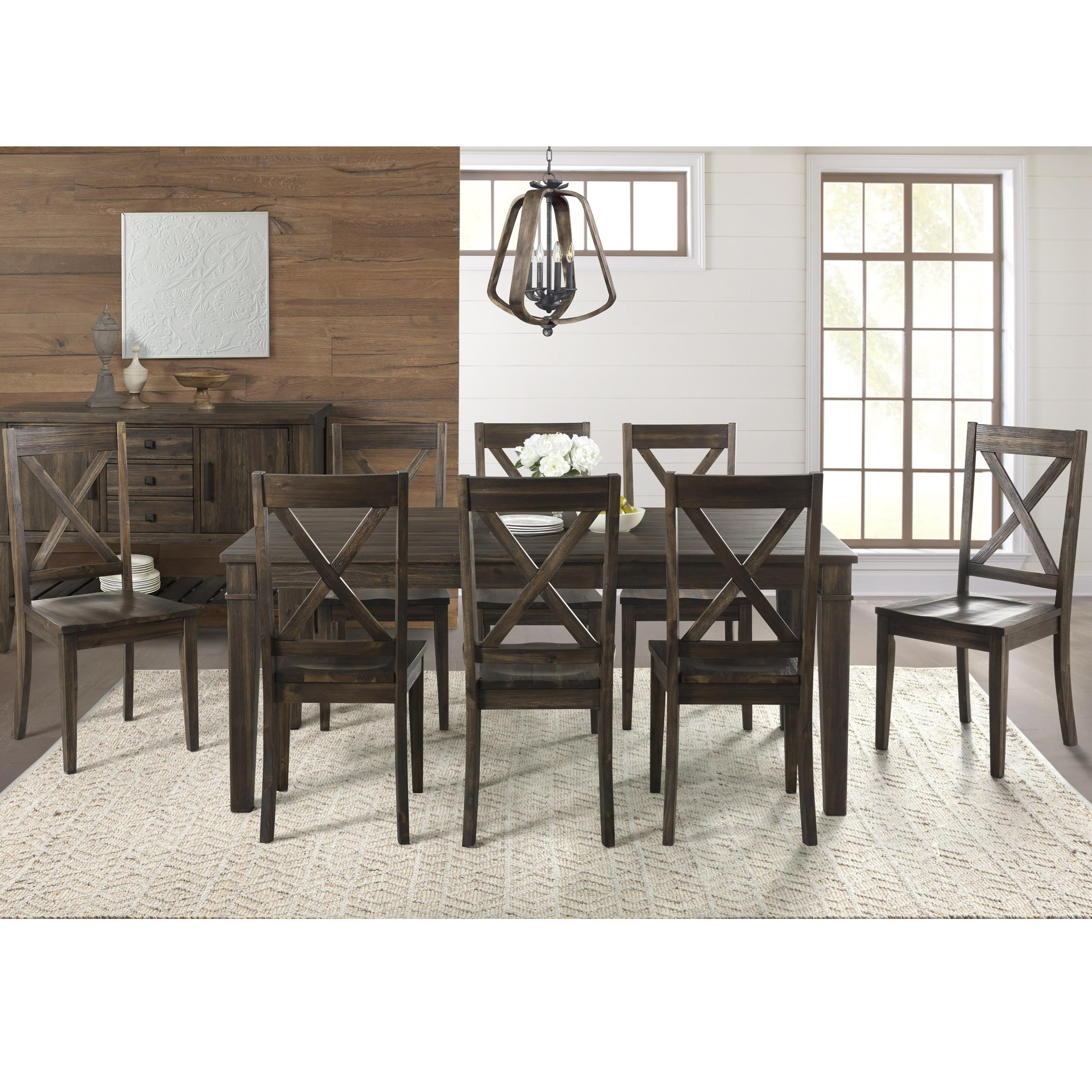 AAmerica Huron Transitional Table and Chair Set - Item Number: HUR-WR-6-09-0+8x2-47-K