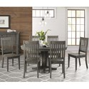 AAmerica Huron Pedestal Table and Chair Set - Item Number: HUR-DG-6-10-0+6x2-65-K