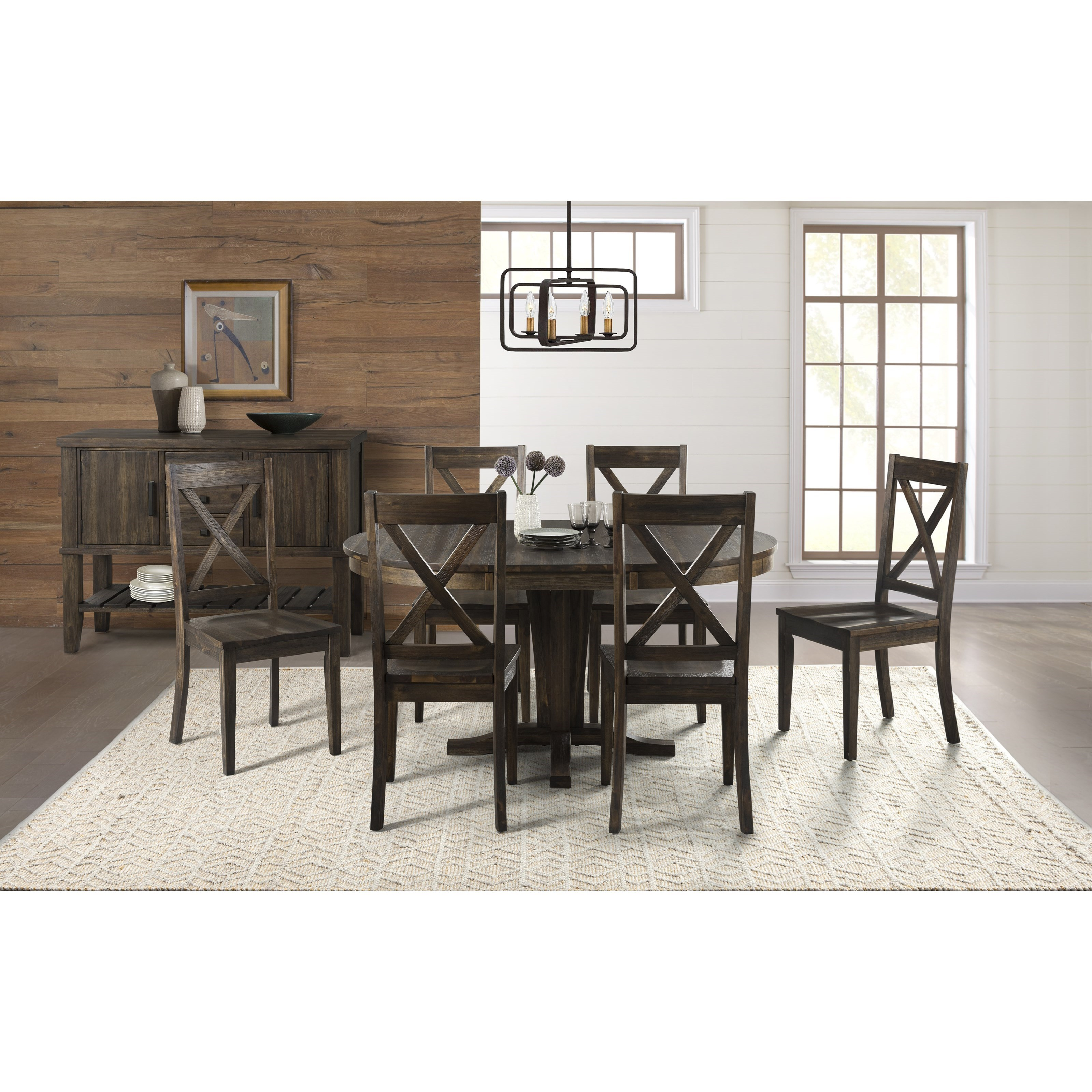 Aamerica Huron Transitional Solid Wood Pedestal Table With