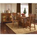 AAmerica Laurelhurst Slatback Barstool - Shown with Wood Top Server and Rectangular Gathering Table