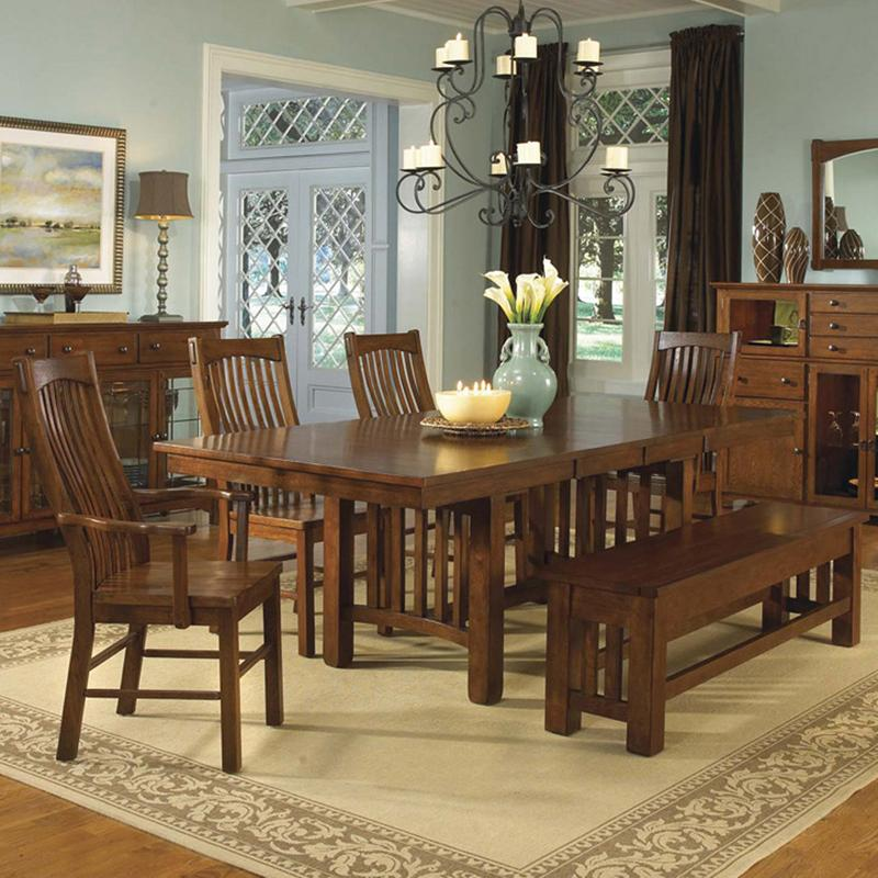 AAmerica Laurelhurst Rectangular Table & 4 Chairs with Bench - Item Number: LAU-OA-6-30-0+2X2-66-0+2X65+96