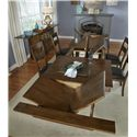 AAmerica Mariposa 11 Piece Trestle Table and Slatback Chairs Set - Top View of 3 Butterfly Leaves