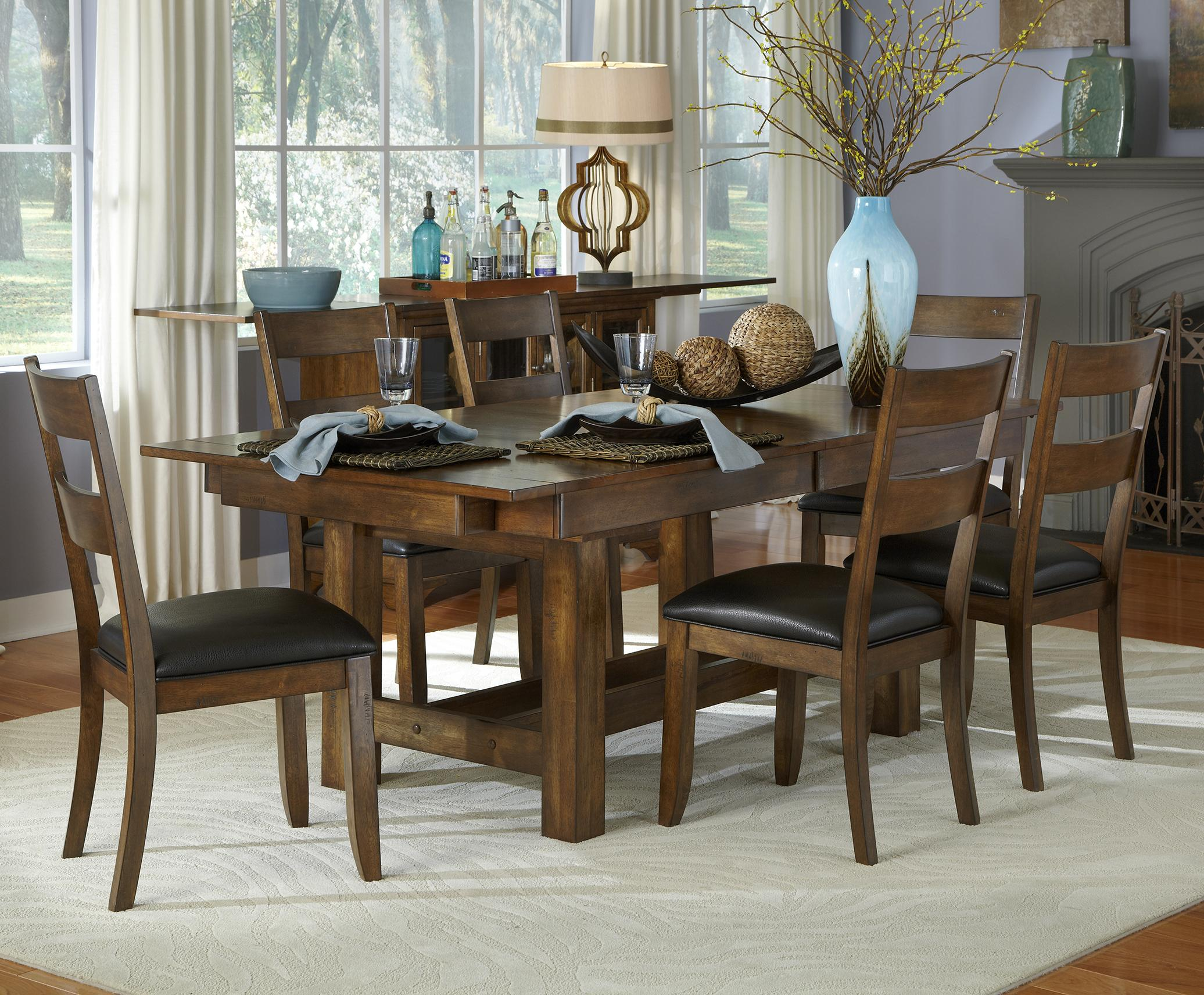 AAmerica Mariposa 7 Piece Table and Chairs Set - Item Number: MRP-RW-6-08-0+6x2-55-K