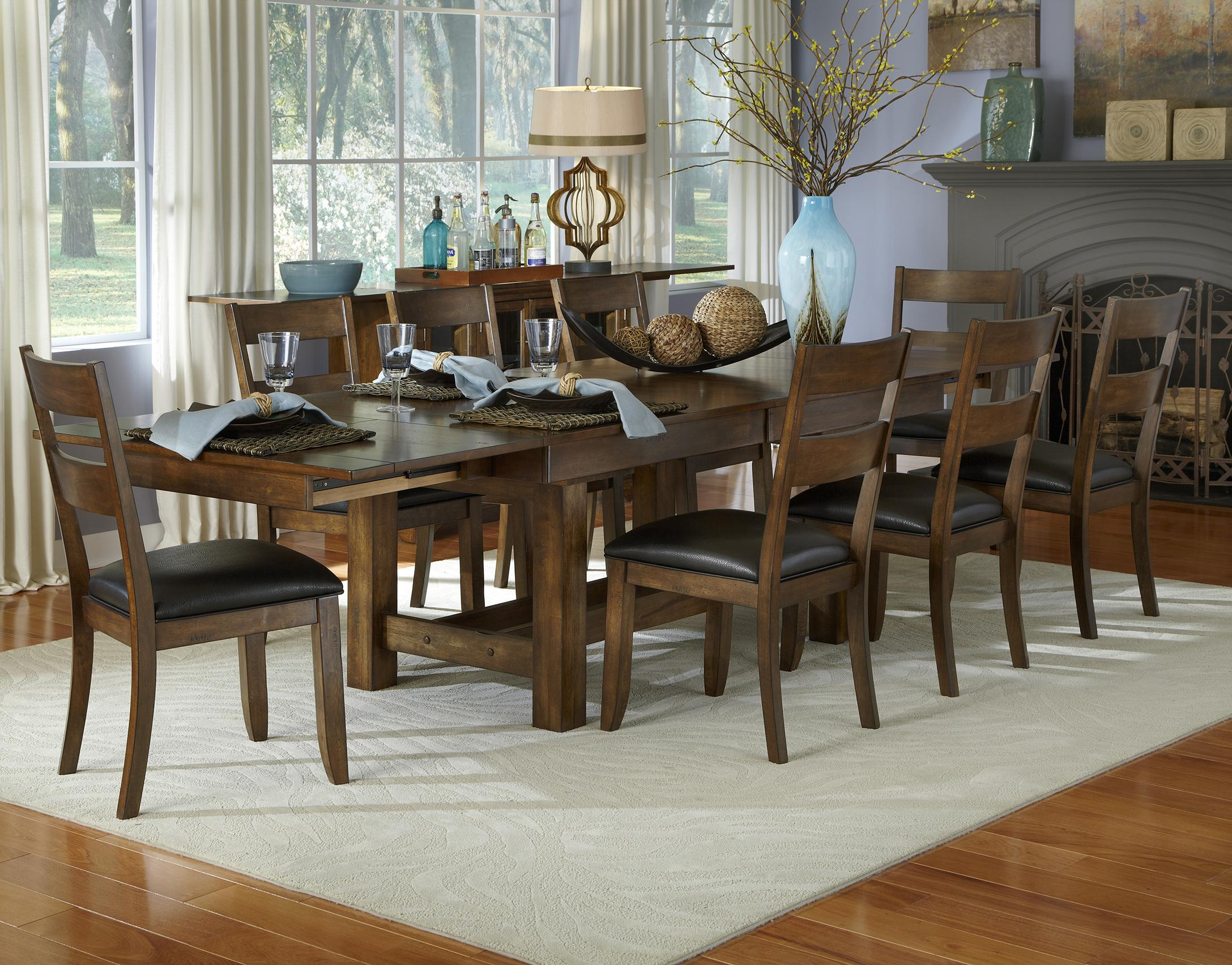 AAmerica Mariposa 9 Piece Table and Chairs Set  - Item Number: MRP-RW-6-08-0+8x2-55-K