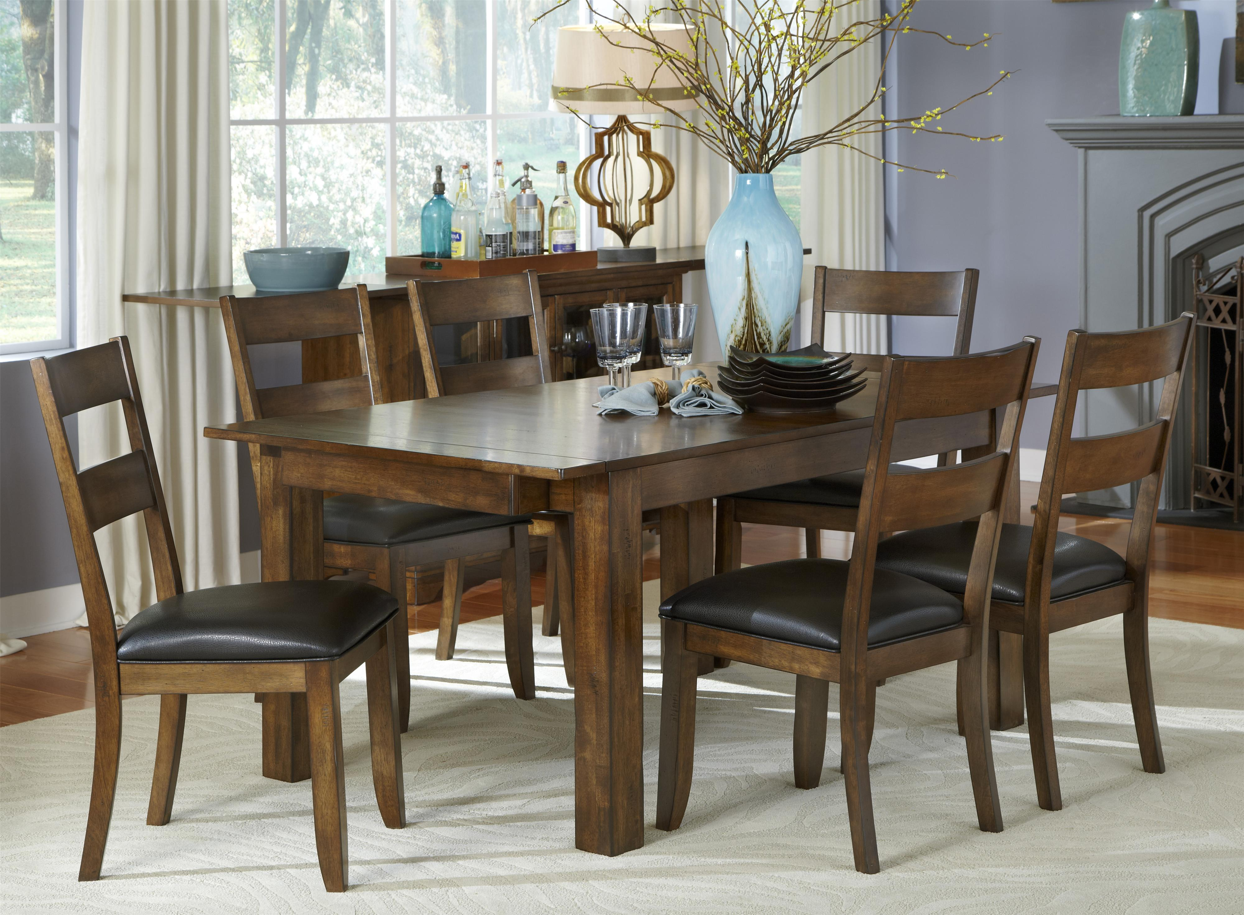 AAmerica Mariposa 7 Piece Table and Chairs Set - Item Number: MRP-RW-6-20-0+6x2-55-K