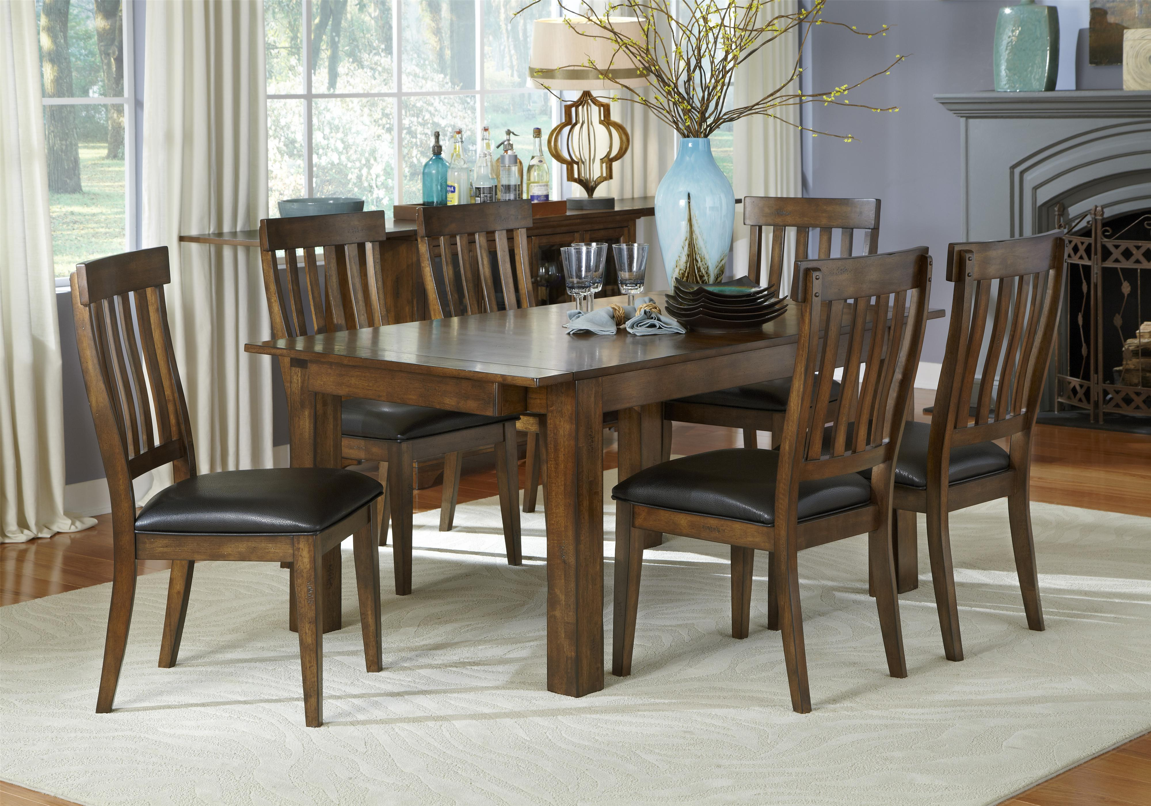 AAmerica Mariposa 7 Piece Table and Chairs Set - Item Number: MRP-RW-6-20-0+6x2-65-K