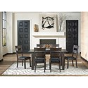AAmerica Mariposa 7 Piece Table and Chairs Set - Item Number: MRP-WG-6-20-0+6x2-55-K
