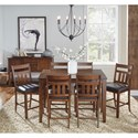 AAmerica Mason 7 Piece Gathering Height Dining Set - Item Number: MAS-MA-6-75-0+6xMAS-MA-3-65-K