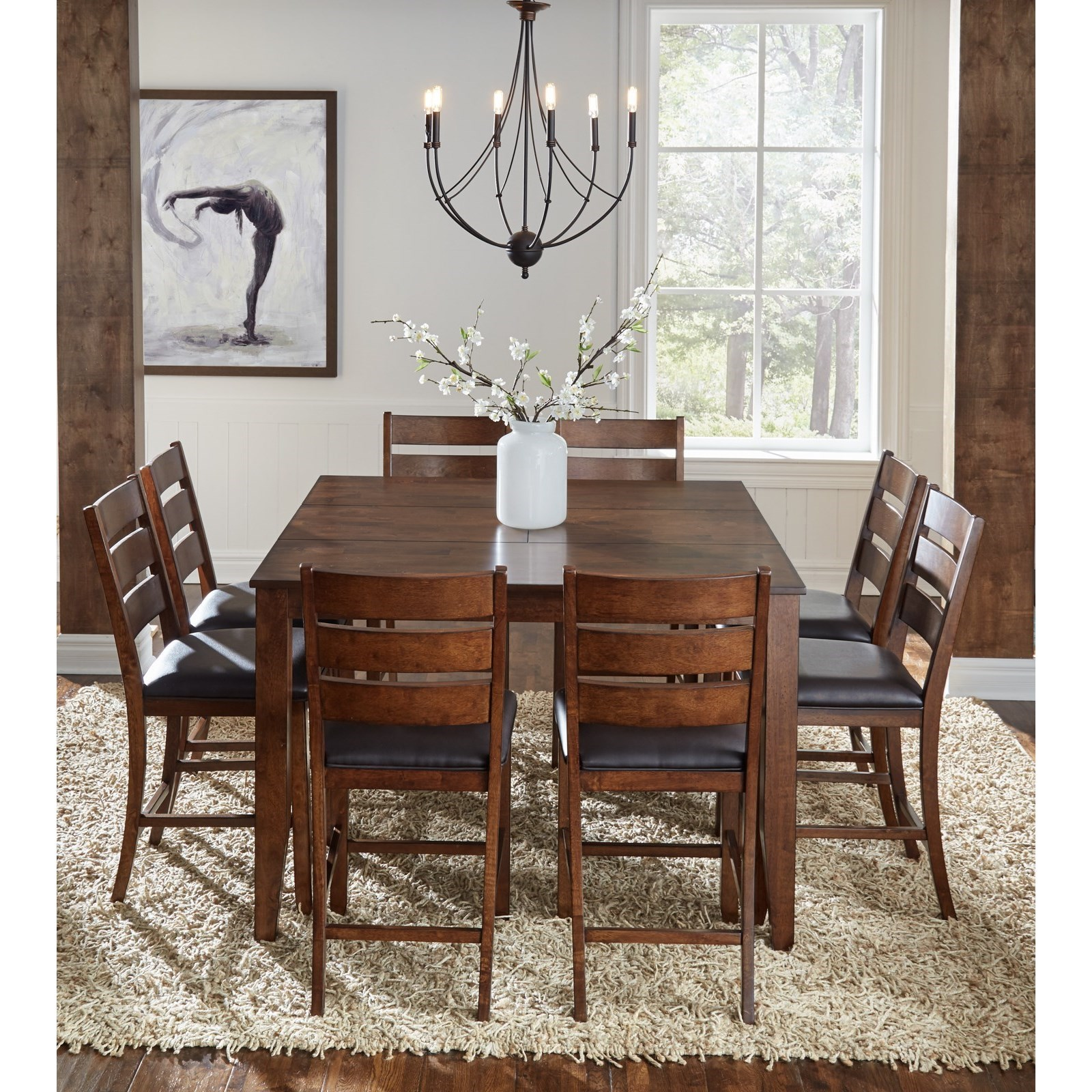 9 Piece Gathering Height Dining Set