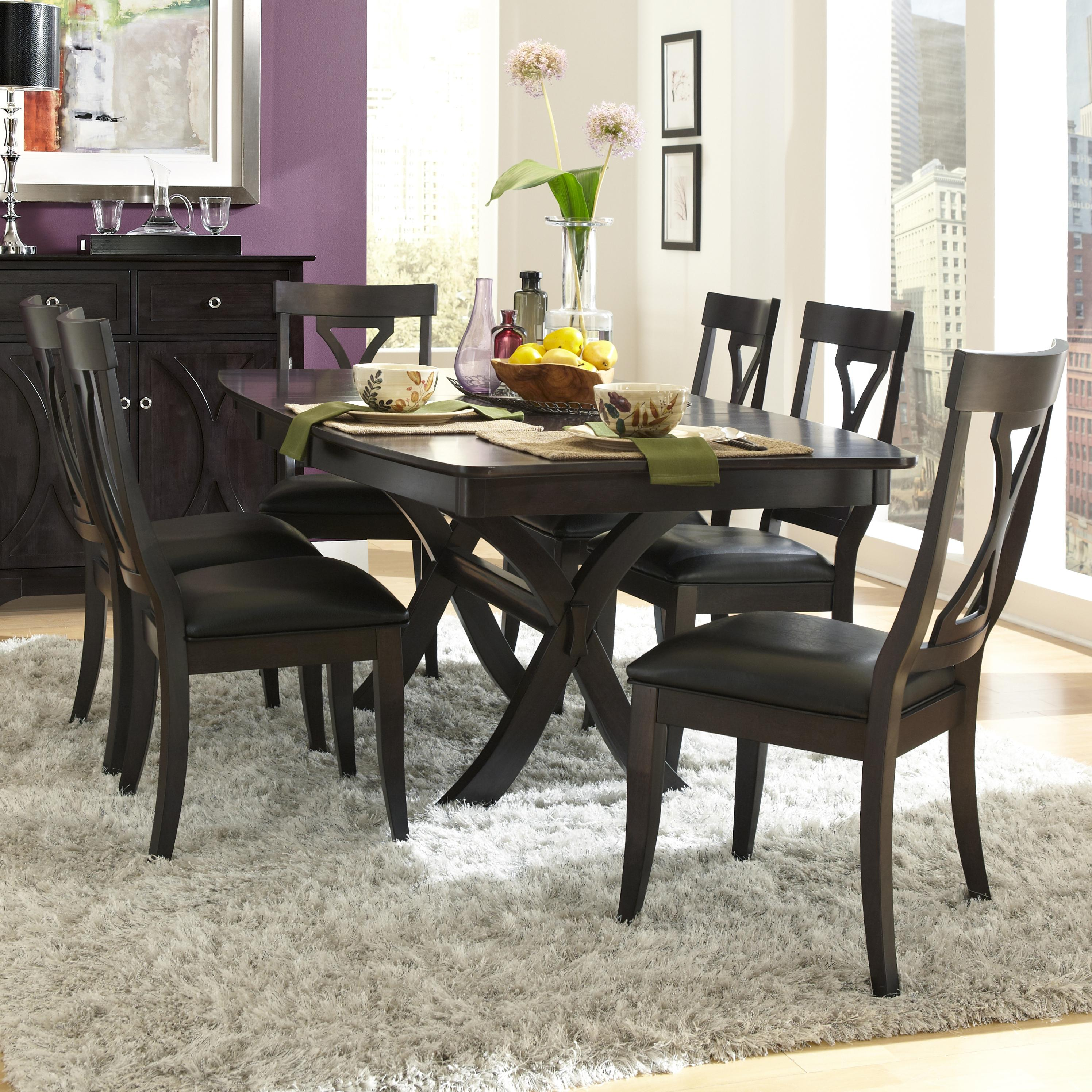 AAmerica Midtown 7 Piece Table and Chairs Set - Item Number: MID-WG-6-30-0+6x2-47-K