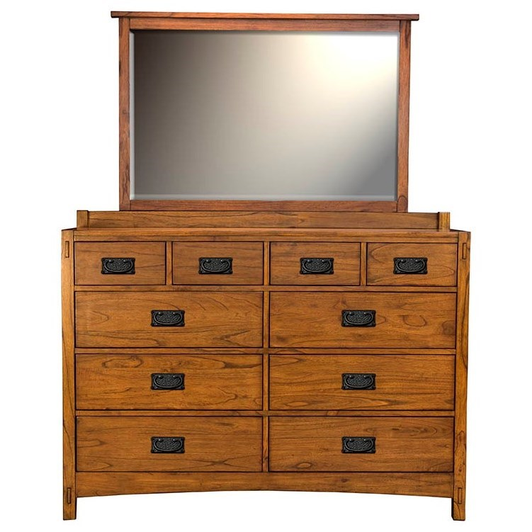 AAmerica Mission Hill Dresser and Mirror - Item Number: MIH-HA-5-50-0+MIH-HA-5-55-0