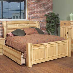 AAmerica Amish Highlands Queen Arch Panel Bed W/Storage Box