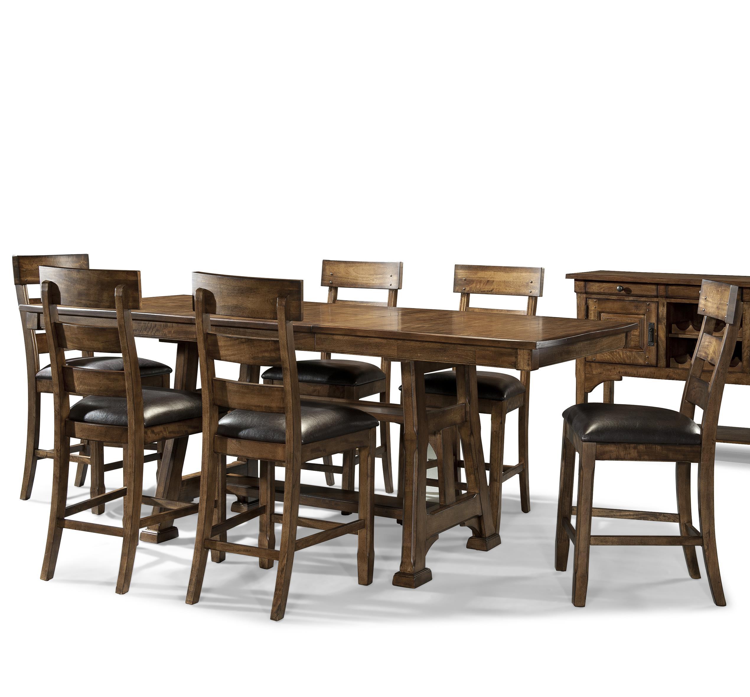 7 Piece Trestle Pub Table and Stool Set