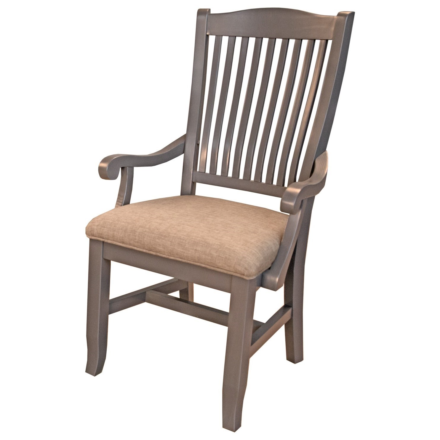 Port Townsend Slatback Arm Chair with Upholstered Seat by AAmerica at Johnny Janosik