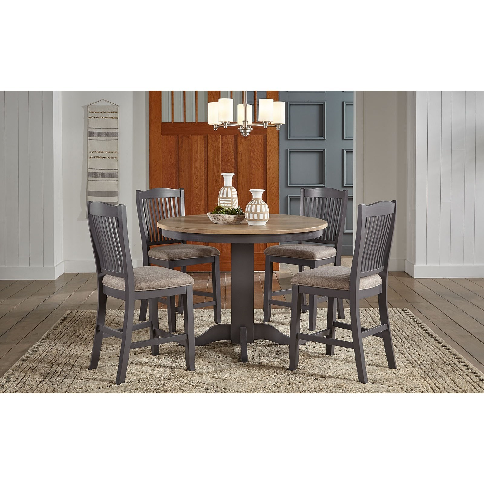 5-Piece Round Gathering Table and Chair Set