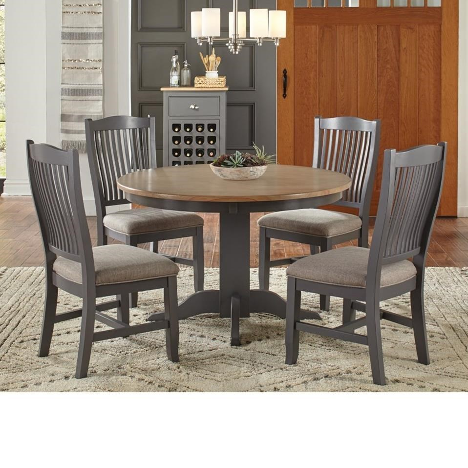 Aamerica Port Townsend 5 Pc Table Chair Set Round Table 4 Upholstered Side Chairs Value