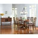 AAmerica Roanoke 7 Piece Oval Extension Pedestal Table & Ladderback Chair Set